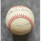 Mickey Mantle Joe DiMaggio Willie Mays Duke Snider dual signed National League Baseball JSA Authenticated
